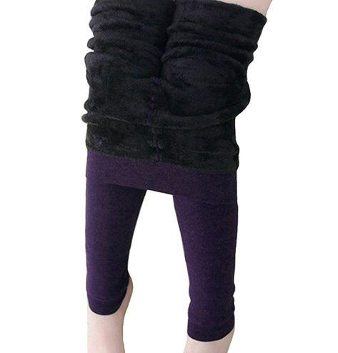a755bfc3 Girls Winter Warm Fleece Lined Elastic Waist Velvet Stretchy Thick Leggings  Kids Tights Pants - Purple