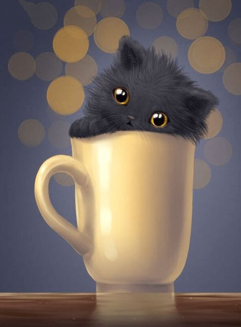 Clearance - Cat In A Cup Diamond Painting