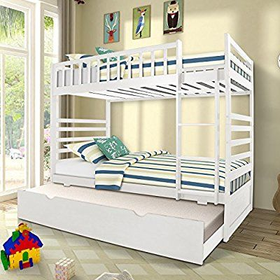Amazon Com Merax Bunk Bed Twin Over Twin With Trundle Bed And End