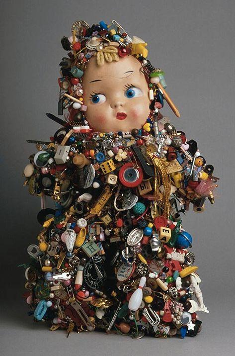 Lisa Kokin, Baby Mixed media, 18 x 12 x 7 inches, 1995 It's official. Lisa Kokin is my latest obsession. Found Object Art, Found Art, Toy Art, Mixed Media Sculpture, Metal Sculptures, Abstract Sculpture, Bronze Sculpture, Wood Sculpture, Broschen Bouquets
