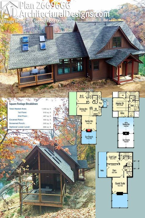 Plan 26696gg Rustic Cottage Home Plan With Second Floor Master Craftsman House Craftsman House Plan Cottage Homes