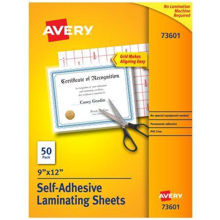 Avery Self Adhesive Laminating Sheets 9 Inch X 12 Inch Permanent Adhesive 50 Clear Laminating Sheets 73601 In 2020 Adhesive Laminated Business Cards Glue Crafts