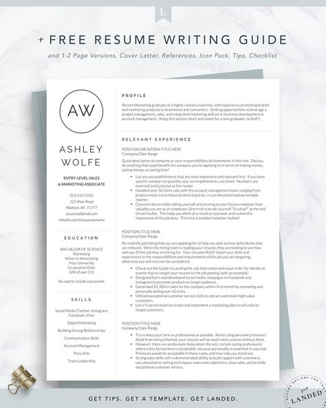 New Graduate Resume Template for Word and Pages   The Wolfe