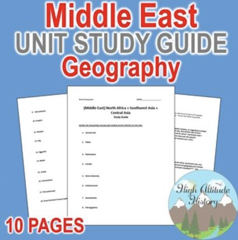 Middle East Unit Study Guide Geography N Africa Sw Asia And Cent Asia Study Guide Study Unit Guide Words