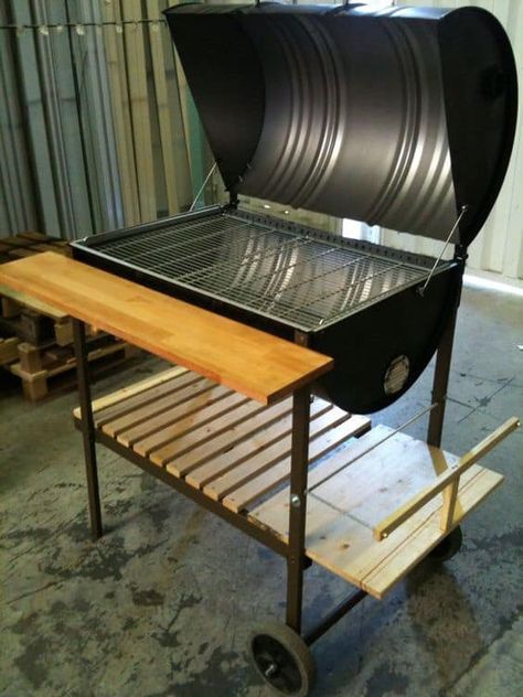 Oil Drum Barbecue With Heavy duty steel and wood frame made