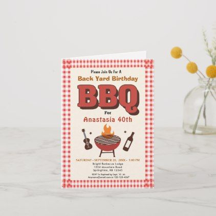 Backyard Bonfire Birthday Invitation BBQ Birthday