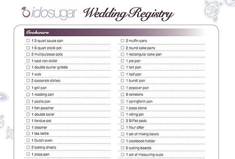 Wedding Registry Checklist Ideas  Wedding