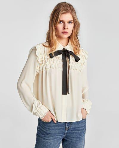 42e2db201 Imagen 2 de BLUSA VOLANTES LAZO A CONTRASTE de Zara. 25,95€ | Moda ...