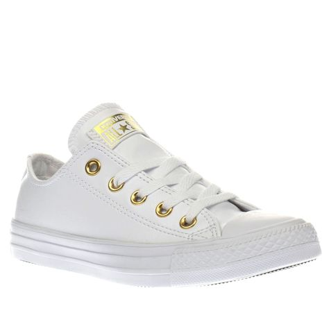 5d9019de143 womens converse white   gold chuck taylor all star craft ox trainers ...
