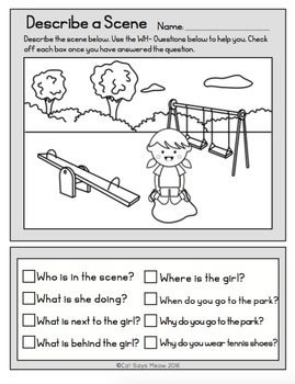 Wh- Questions: No Prep Freebie! Describe a Scene (Print and Go