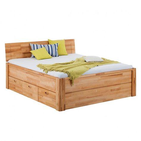 stauraumbett mit praktischen schubladen aus teilmassiver eiche, Hause deko