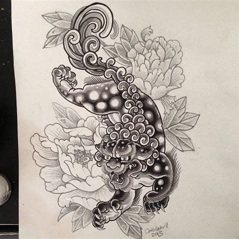 Chinese Lion Tattoo Design Tattoideas Foo Dog Tattoo Design Foo Dog Tattoo Lion Tattoo Design