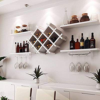 Black Wall Mount Wine Rack Bottle Holder Champagne Glass Storage