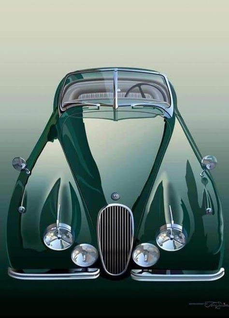 Jaguar XK150 Roadster Caricature Retro Classic Sports Car Art Print