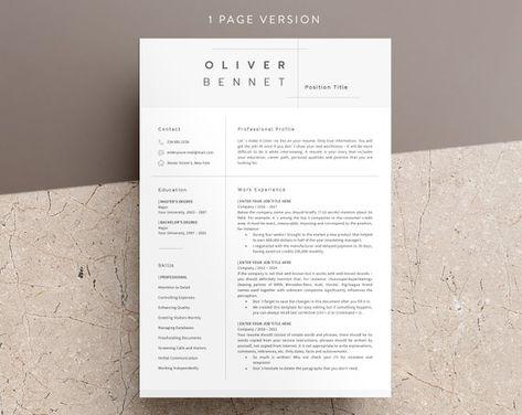 Minimalist Resume Template - Cv Template | 3 Page Resume Engineer ...