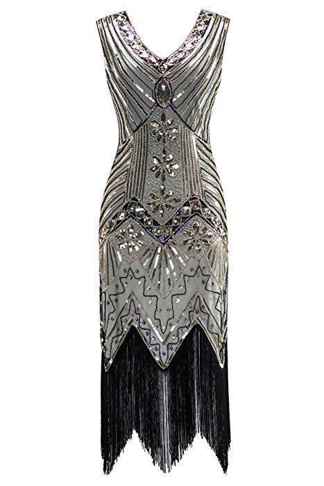 Women/'s 1920s V Neck Flapper Dress Beaded Sequin Vintage Gatsby Evening Dress UK