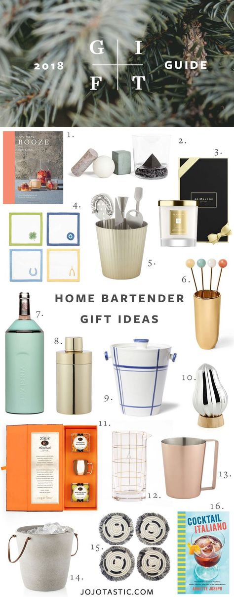 Home Bartender and Cocktail Enthusiast Gift Ideas, Gift Guide for Christmas  Holidays 2018 via jojotastic.com #giftguide #giftidea #giftgiving #gifts #presents #christmaspresents #christmasgiftideas #christmasgift #cocktails #bartender #homebartender #co