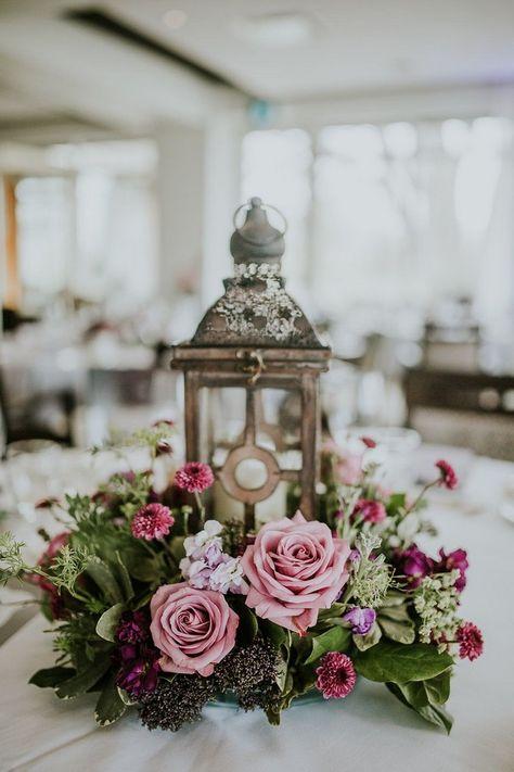 Lantern Wedding Centrepiece - Purple Wedding Flowers#weddings#wedding #weddingcolors #weddingideas #beautiful#dresses #bridesmaid#purple#mauve