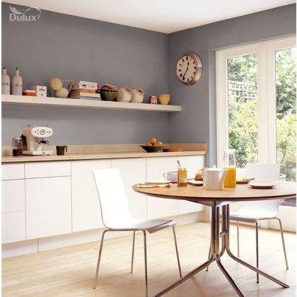 White Kitchen Grey Walls chic shadow dulux paint - available now at homebase in store and