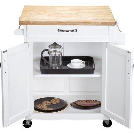 Mainstays Kitchen Island Cart White Walmart Com Rolling Kitchen Island Kitchen Island Cart White Kitchen Island Cart