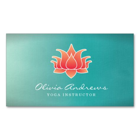 Modern Business Card Design With A Lotus Flower Illustration Red Blue Yoga Beach Themed Instructor Elegant Unique