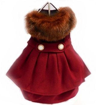 Burgundy Wool Fur Collar Harness Dog Coat Leash Visit Us To Know