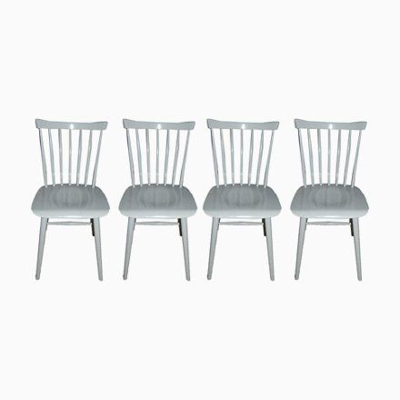 Pearl White Rung Chairs 1960s Set Of 4 Chair Dining Chair Set