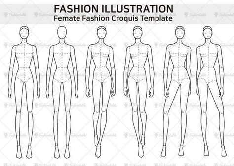 Femate Fashion Croquis Template   Downloadable items  Made with Adobe Illustrations. Adobe Illustrations contain files that can be modified  Download Size: 7.48MB  Files: AI CC, AI CS4, PDF, GIF   For personal use. For commercial use and for extended lisence please send a message.