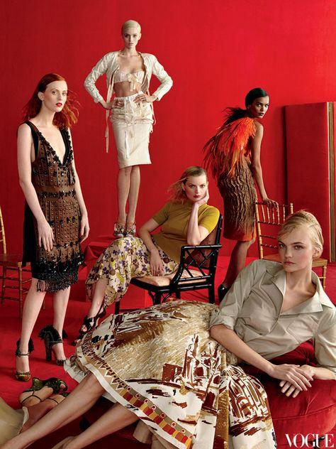 The new crowd: Caroline Trentini, Karen Elson,Abbey Lee Kershaw, Guinevere Van Seenus & Liya Kebede/Vogue US May 2012