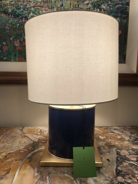 Kate Spade New York Table Lamp Dark Navy Blue Ivory Gold New With
