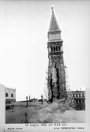 """A (fake) picture of collapsing Campanile di San Marco by Antonio de Paoli (1902). Nice example of """"photshopping"""" in the early 1900s. On the days before the collapse the tower began to groan, so municipality and citizens were somehow prepared. However those weren't the times of iPhone but glass photo plates and it's unlikely that exactly the moment of the collapse was catched on glass. What exists are montages that illustrate the drama (in which btw no person was killed... however a cat)."""