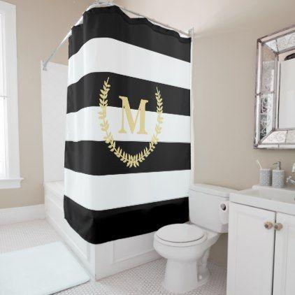 Chic Modern Black White Stripes Gold Monogram Bath Shower Curtain