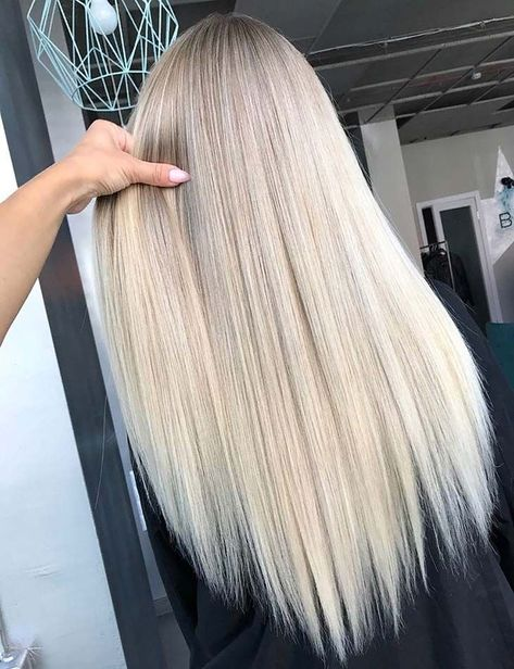Gorgeous Long Sleek Straight Blonde Hairstyles for 2019 in