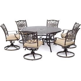 Swell Hanover Traditions 7 Piece Dining Set In Tan With A 60 In Andrewgaddart Wooden Chair Designs For Living Room Andrewgaddartcom