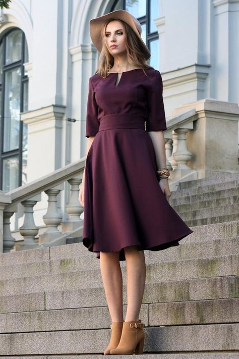 Women Dress, Formal Dress, Midi Dress Grape purple dress with circle skirts. Golden color detail in neckline. Dress with mid sleeves and zipper on the side, tying belt at the back. The material isvery comfortable for wearing them, slightly elastic and cr