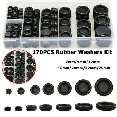 170x Assortment Rubber Grommet Firewall Hole Plug Set Electrical Wire Gasket Kit