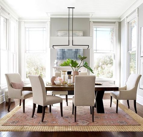 pretty in pink layering rugs under the dining table adds extra rh pinterest com