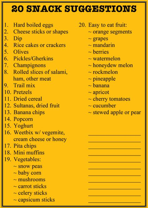 20 Lunch Box Snack Ideas with a printable list for the fridge