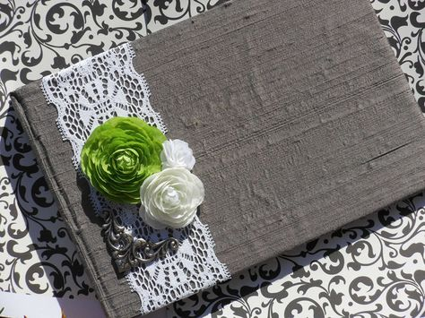 Dark Gray Wedding Guest Book with white lace Lime green and White Flowers (RTS). $42.00, via Etsy.