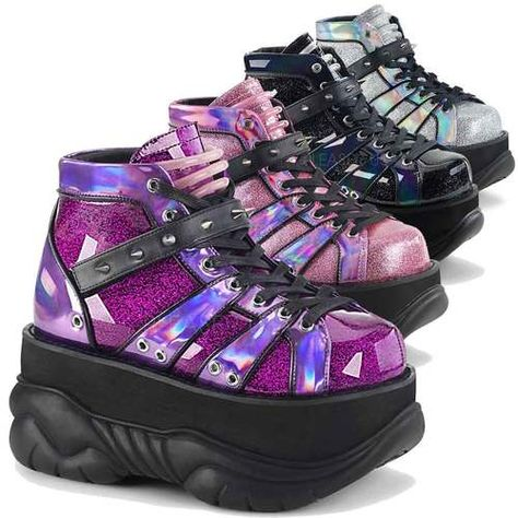 Demonia Women's 3 Inch Platform Lace-Up Shoe Featuring Velcro Ankle Strap with Cone Studs and UV Reactive Tubbing on Tongue