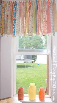 Shabby chic rag valance. Just tie fabric scraps to a curtain rod.--perfect for my kitchen and small windows. I wanna use lace and burlapy strips mixed with a little blue from the living room