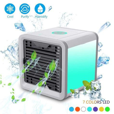 Hello22 Portable Air Conditioner Fan 3 In 1 Personal Space Air Cooler Humidifier Purifier Desktop Cooling Fan Personal Table Fan Used Office Home Kitchen Air Cooler Fan Space Air Conditioner Arctic Air