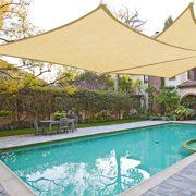 Petra's 18 Ft. X 18 Ft. Square Desert Sand Sun Sail Shade. Durable Woven Outdoor Patio Fabric w/ Up To 90% UV Protection. 18x18 Foot - Walmart.com