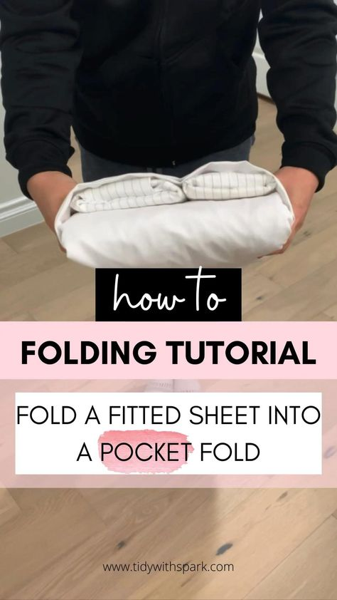 How to fold fitted sheet into a pocket fold - DIY step by step - home organization hacks