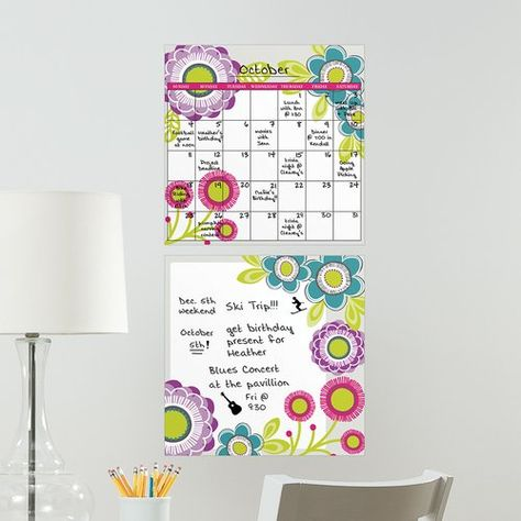 East Urban Home Poppy Dry Erase Calendar Wall Sticker Dry Erase Wall Calendar Flower Wall Stickers Butterfly Wall Stickers