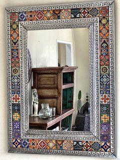 mexican tin tile mirror large