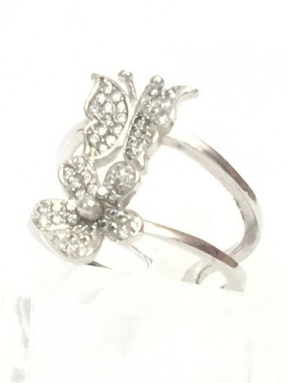 خاتم فضة عيار 925 فراشه Free Size فصوص زاركون Engagement Rings Jewelry Engagement