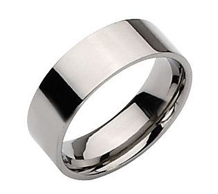 Titanium Flat 8mm Polished Ring Unisex Qvc Com In 2020 Rings Mens Wedding Bands Stainless Steel Wedding Bands Stainless Steel Wedding Ring