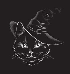 Black Cat With Pointy Witch Hat Line Art Vector Witch Cat Art Black Cat Tattoos Black Cat Drawing