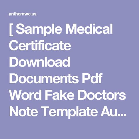 Sample Medical Certificate Download Documents Pdf Word Fake - doctor note pdf